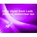 25 X Ultra Violet LEDs 5mm (UV Light Emitting Diodes). Pack of 25 LEDs.