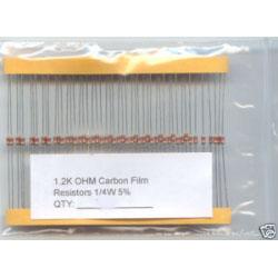 1.2K Ohm Carbon Resistors 1/4W 5%. (Pack of 5)