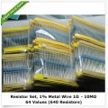 Resistors Value Kit, 64 Values, 1R to 10M Ohm, 1% 1/4 Watt. (640 Resistors)