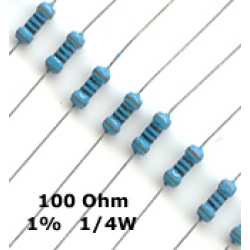 100 Ohm Metal Film Resistors 1/4W 1%. (Pack of 5)