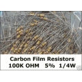 100K Ohm Carbon Film Resistors 1/4W 5%. (Pack of 5)