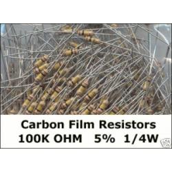 100K Ohm Carbon Film Resistors 1/4W 5%. (Pack of 5)