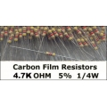 4.7K Ohm Carbon Film Resistors 1/4W 5%. (Pack of 5)