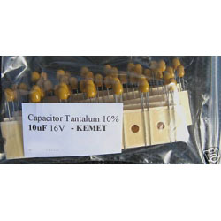 10uF 2.5mm 16V Tantalum Capacitors. Kemet. (Pack of 2).
