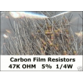 47K Ohm Carbon Film Resistors 1/4W 5%. (Pack of 5)