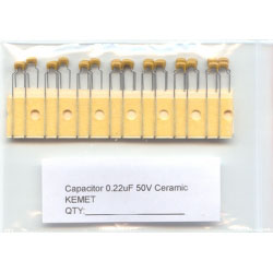0.22uF Ceramic Capacitors. Kemet. (Pack of 5)