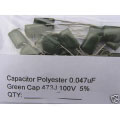 0.047uF Green Polyester Film Capacitors. 100V, 5%. (Pack of 5)