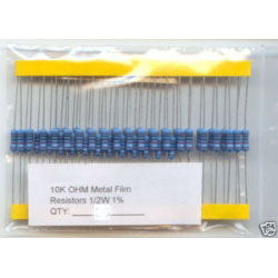 10K Ohm Resistors 1/2W 1%. (Pack of 5)