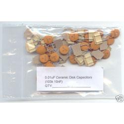 0.01uF (103K 10nF) Ceramic Disk Capacitors. (Pack of 5)